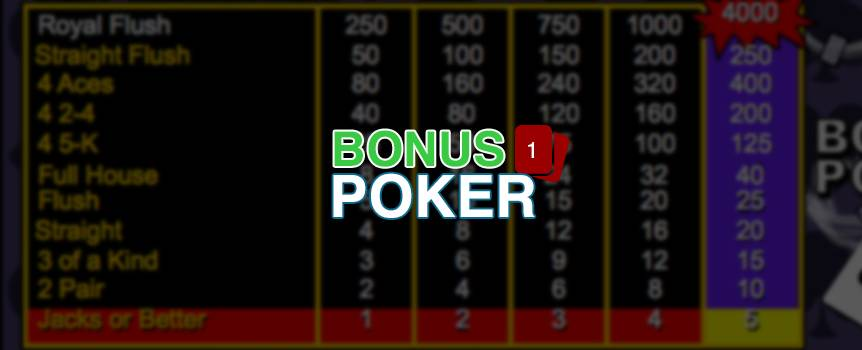 "Bonus Poker is a game of draw poker. The player receives five cards from the dealer; the player then chooses which of the cards to keep or ""hold"". Then discards the remaining cards for new ones by pressing deal. The final hand is determined a winning hand if the player has a pair of Jacks or better."
