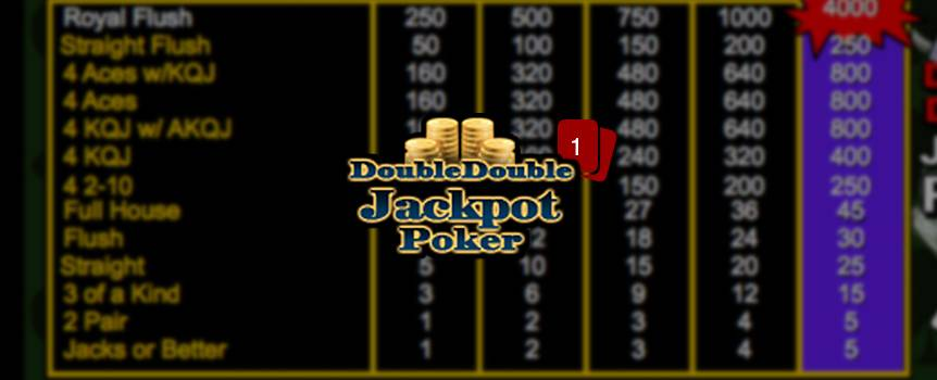 "Double Double Jackpot Poker is a game of draw poker. The player receives five cards from the dealer; the player then chooses which of the cards to keep or ""hold"". Then discards the remaining cards for new ones by pressing deal. The final hand is determined a winning hand if the player has a pair of Jacks or better."