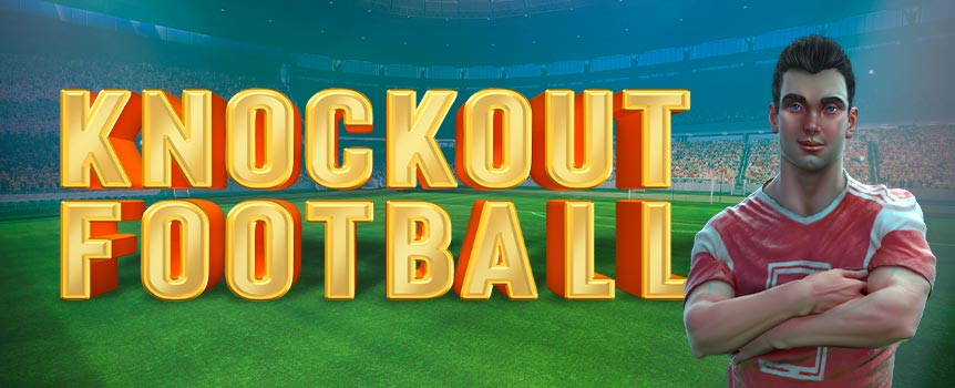 In this game, activate the Knockout Free Games when you collect 6 Trophy Wilds. The feature is modelled after a knockout game. The football appears in the middle position of the 3rd reel and it will be kicked in a random direction. Your team is blue, the opponent is red, and depending on the position of the football once it is kicked, one of you will be scoring a goal.